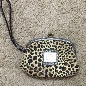 VTG Liz Claiborne leopard wristlet change purse